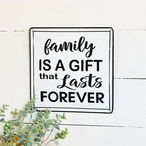 Family is a Gift that Lasts Forever 10″ Square Tin